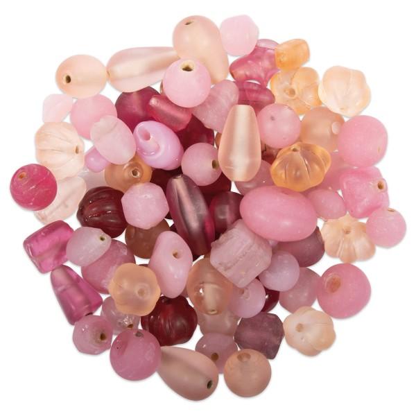 Glasperlen-Mix matt 6-26mm 100g rosa-ton Lochgr. ca. 0,9-1,5mm