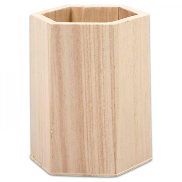 Stiftehalter sechseckig Holz 8x10,5cm natur