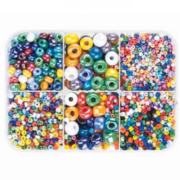 Glasperlen-Box satt seidenmatt 2-6mm ca. 150g mix Lochgr. ca. 0,5-1,5mm