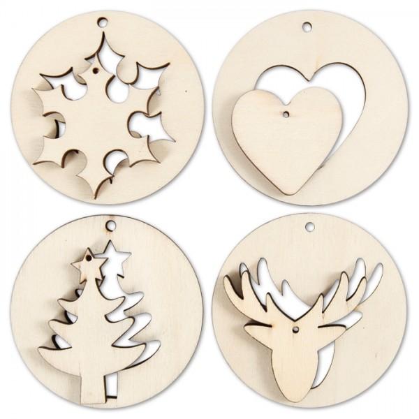 Hänge-Dekoration 2-in-1 Weihnachten Ø 7cm 8 St. Schneeflocke/Herz/Tanne/Elchkopf, 4mm, Holz