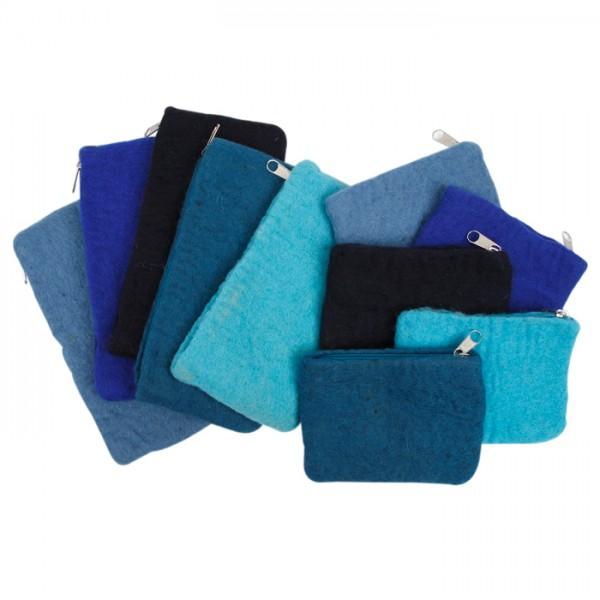 Filz-Geldbeutel/-Federtaschen 10 St. Blautöne 20x9cm & 10x13cm, 100% Wolle