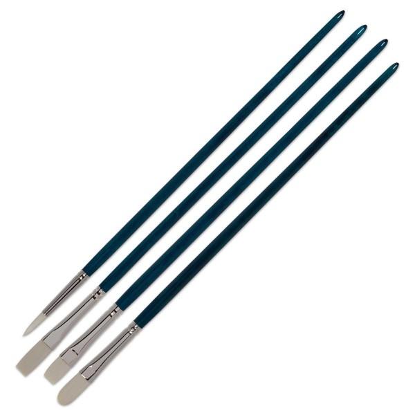 Pinselset Infinity Acrylmalpinsel Gr. 4/8 mit langen Stielen 4 St. Gr. 8 flach/rund, Gr. 4 abgewinke