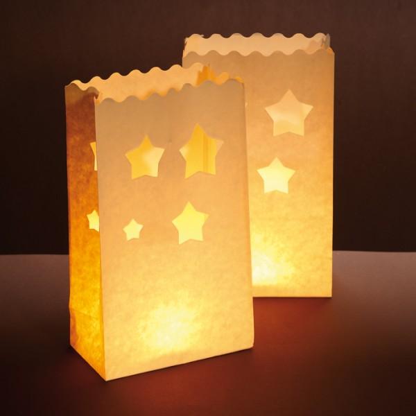Papier-Lichttüten Sterne ca.26x15x9cm 10St. weiß - Preis gesenkt!