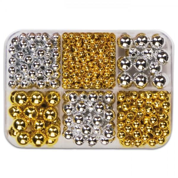 Metallicperlen-Box ca. 4-10mm ca.90g gold-silberf. Kunststoff, Lochgr. ca. 1-2mm