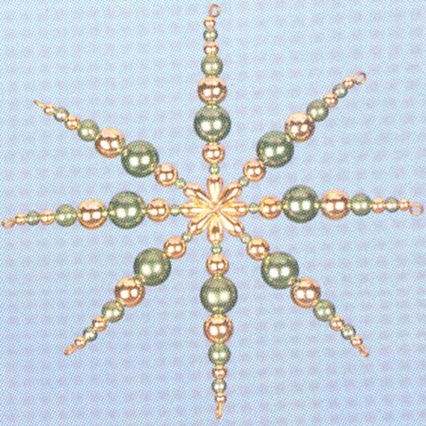 Kreativset Perlenstern ca. 12cm grün-goldfarben Bastelset, Kunststoff/Metall