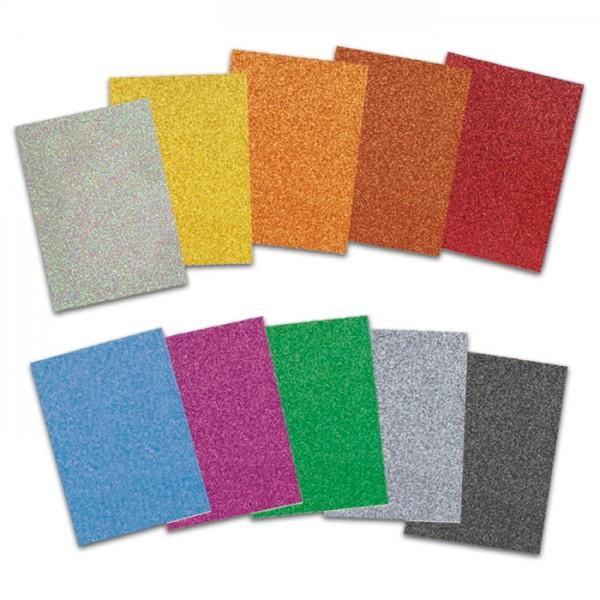 Glitterkarton 280g/m² 21x30cm 10 Bl./Farben einseitig mit Glitter