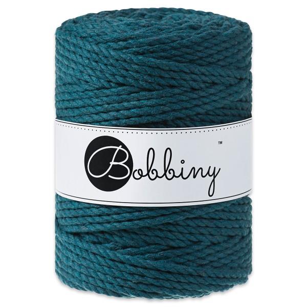 Bobbiny 3PLY Makramee-Kordel Ø5mm peacock blue ca. 700g-800g, 100% Baumwolle, LL 100m, 3x60 Fasern