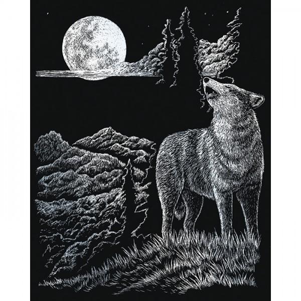 Kratzbild silber 20,3x25,4cm Wolf&Mond
