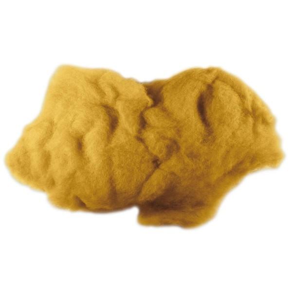Krempelwolle max. 27mic 100g gelb 100% Wolle von neuseeländischen Schafen
