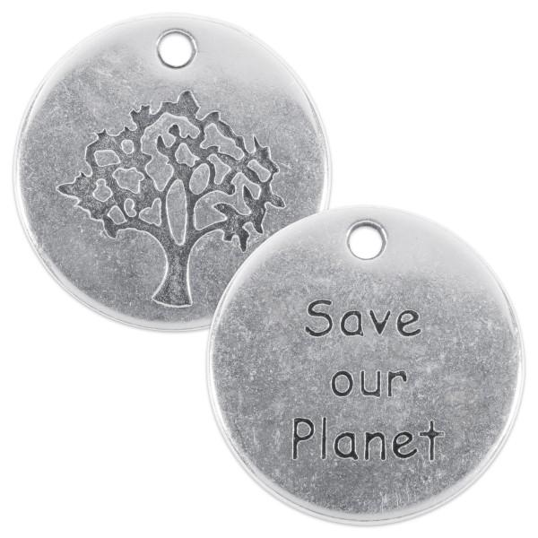 Metallanhänger Save our Planet Ø 2cm altplatinfarben Lochgröße ca. 2mm