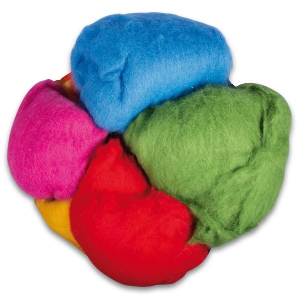 Krempelwolle max. 27mic 1.000g Mix 100% Wolle von neuseeländischen Schafen, ca. 10 Farben