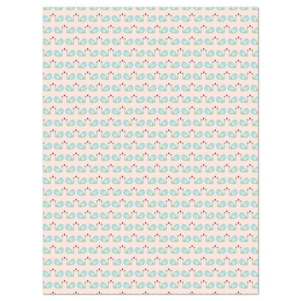 Decoupagepapier Texture Schwanenpaar/rosa von Décopatch, 30x40cm, mit Metalliceffekt