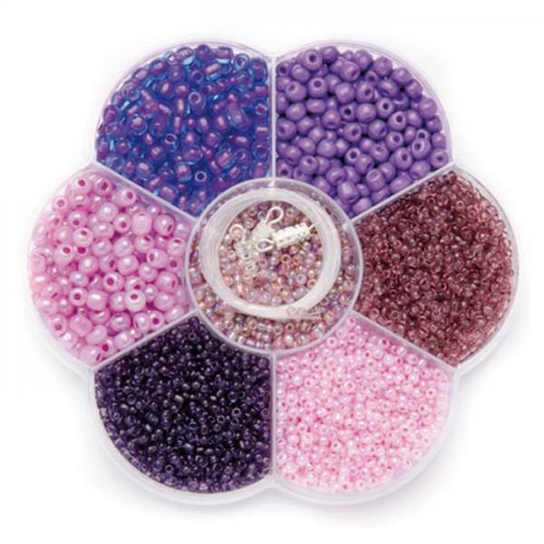 Rocailles Glas 2-4mm 90g lila-rosa mix inkl. Zubehör, Lochgr. ca. 0,7-1,5mm