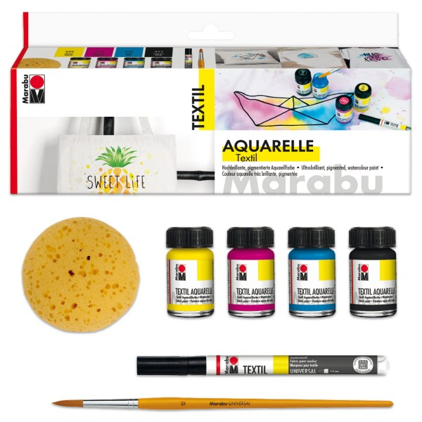 Marabu Textil Aquarelle Set 8-teilig inkl. Pinsel, Stoffmalfarbe für helle Stoffe