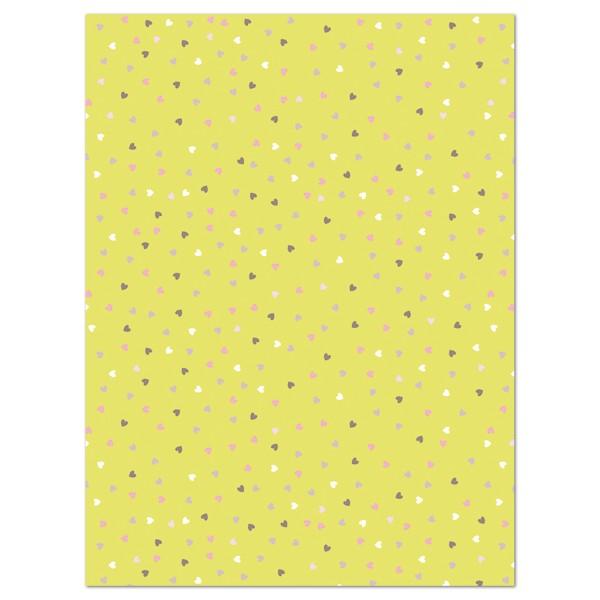Decoupagepapier maigrün mit pastellf. Herzen von Décopatch, 30x40cm, 20g/m²