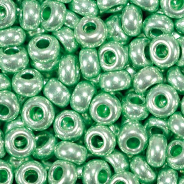 Rocailles metallic glänzend 2,6mm 17g hellgrün Glas, Lochgr. ca. 0,9mm