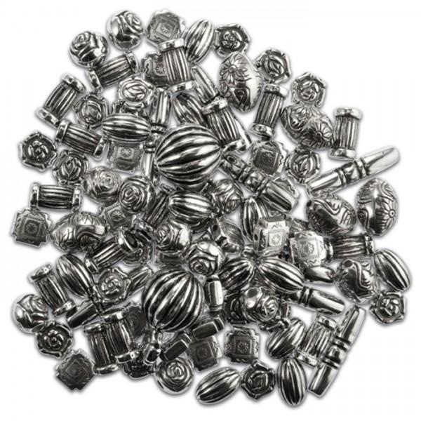 Kunststoffperlen-Mix 10-26mm 25g altsilberfarben verschiedene Formen, Lochgröße ca. 1-2mm
