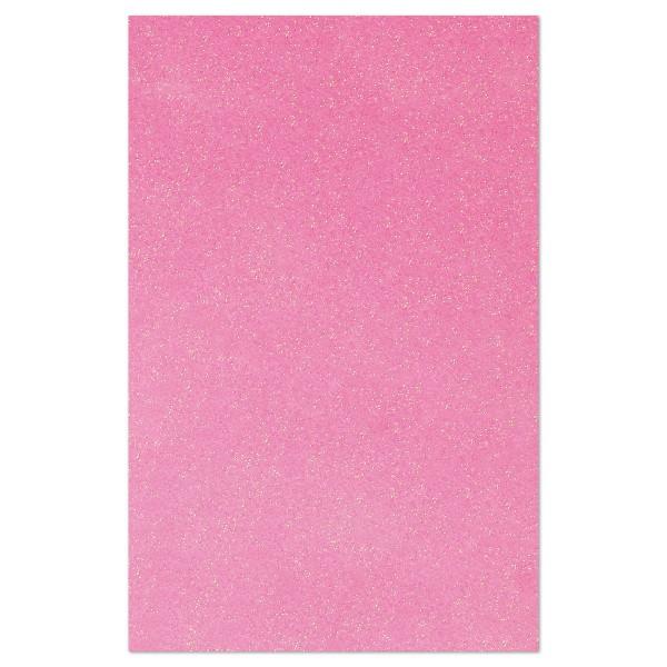 Glitzer-Moosgummiplatte 2mm 20x31cm pink Rückseite weiß