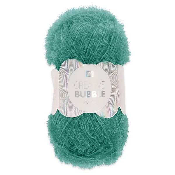 Creative Bubble Wolle 50g ca. 90m grün Nadel Stricken Nr. 2, Häkeln Nr. 4, 100% Polyester