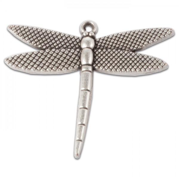 Metallanhänger Libelle 43x38mm altplatinfarben Lochgr. ca. 2mm