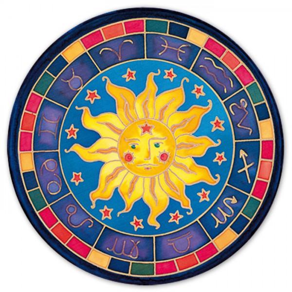 Fensterbild Gutta gold Ø 25cm Astrologie naturweiß 100% Seide, Seide Pongé 08