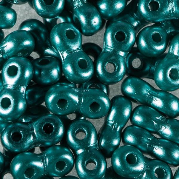 Infinity-Beads DeluXes 3x6mm 5,5g petrol seidenmatt, 2-Loch-Glasperle, Lochgr. ca. 0,9mm