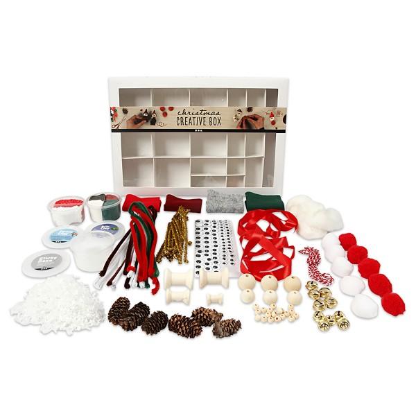 Kreativbox-Set Weihnachten 16 Fächer mit verschiedenem Kreativmaterial