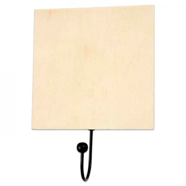 Garderobenhaken 120x120x5mm natur/schwarz Holz/Metall
