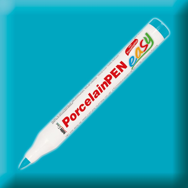 PorcelainPen easy mit Pinselspitze 1-3mm türkis Porzellanmalstift