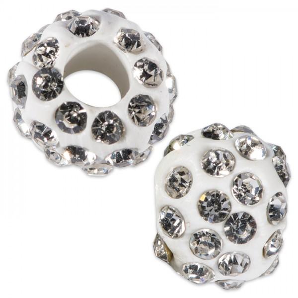 Strassperle Großlochperle 10mm kristall Lochgröße ca. 4mm