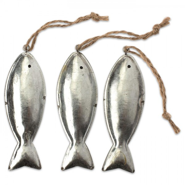 Fische Metall ca. 11x2,3x1,2cm 3 St. silber mit Aufhängeschnur