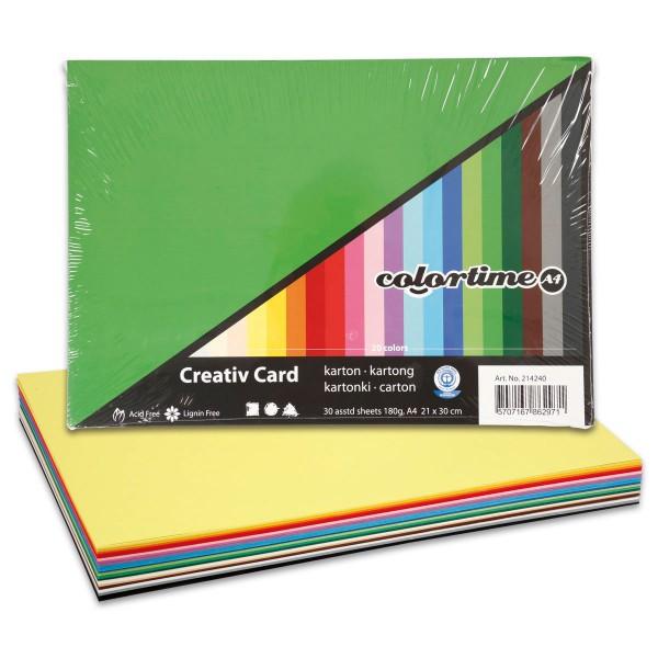 Tonkarton 180g/m² DIN A4 30 Bl./20 Farben