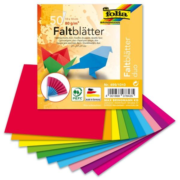 Faltblätter Duo 80g/m² 10x10cm 50 Bl./10 Farben
