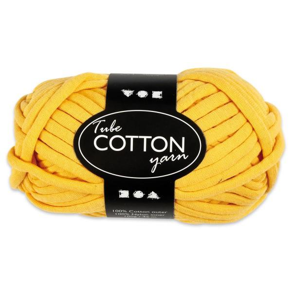 Baumwoll-Schlauchgarn 100g gelb 100% Baumwollen mit Nylonfüllung, für Nadel Nr. 8-10