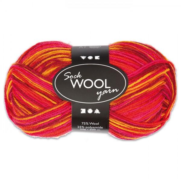 Sockenwolle 50g rot-orange 75% Wolle, 25% Polyamid, für Nadel Nr. 2,5-3