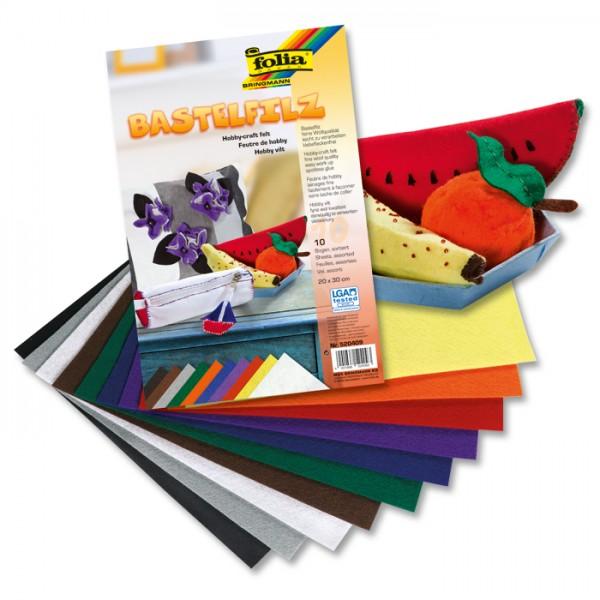 Bastelfilz ca. 2mm 20x30cm 10 St./Farben 150g/m², 100% Polyester, klebefleckenfrei
