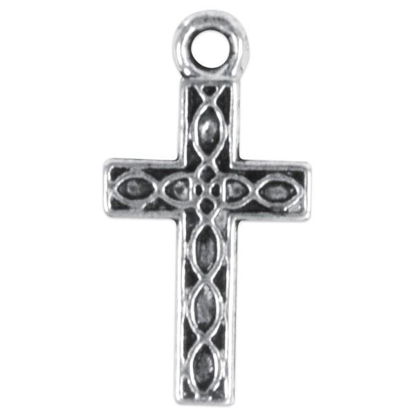 Metallanhänger Kreuz ca. 15x9mm 6 St. altsilberf. Lochgröße ca. 1mm