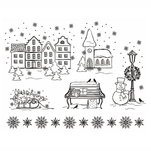 Clear Stamps Silikonstempel 14x18cm Weihnachtsstadt