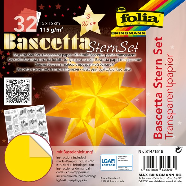 Bascetta-Stern ca. Ø 20cm 32 Bl. gelb 15x15cm, Transparentpapier, 115g/m²