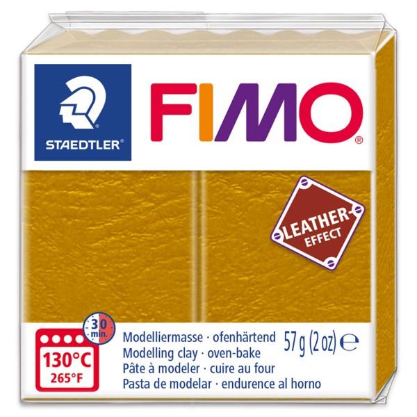 FIMO Leder-Effekt 55x55x15mm 57g ocker ofenhärtende Modelliermasse, leather effect