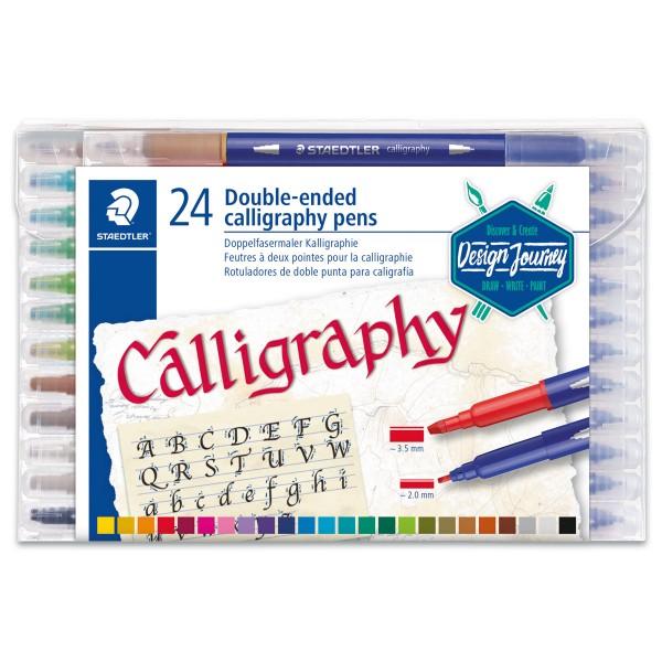 Kalligraphie-Marker Doppelspitze 24 St./Farben Strichbreite 3,5/2mm