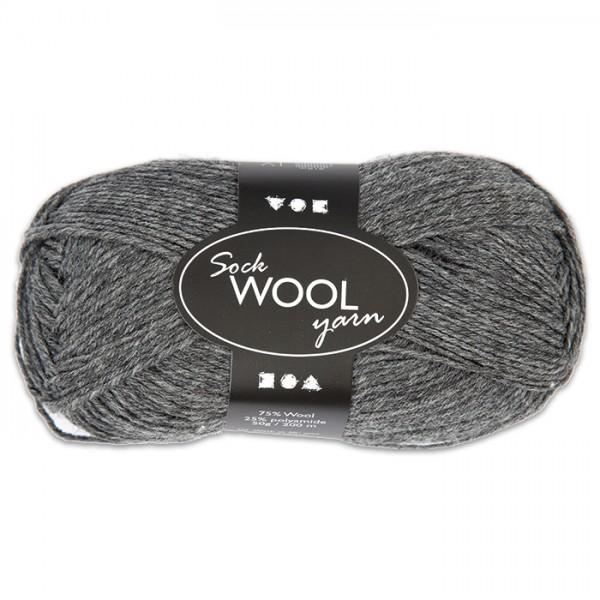 Sockenwolle 50g dunkelgrau 75% Wolle, 25% Polyamid, für Nadel Nr. 2,5-3
