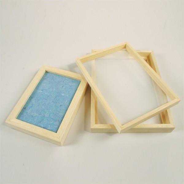 Papierschöpfrahmen Holz ca. 210x150mm mit Kunststoffgewebe bespannnt