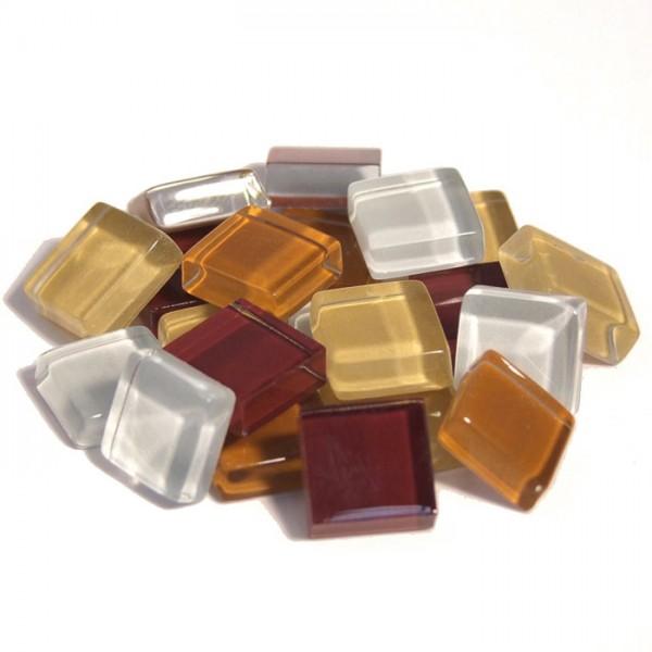 Mosaik Soft-Glas 10x10x4mm 200g braun mix ca. 210 Steine