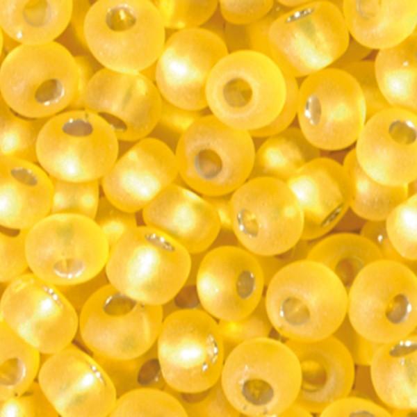 Rocailles transparent matt 2,6mm 17g gelb Silbereinzug, Glas, Lochgr. ca. 0,9mm