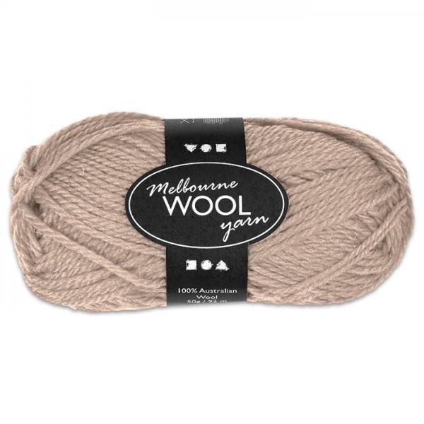 Garn Melbourne Filzwolle 50g beige 100% Wolle, LL 92m, Nadel Nr. 4