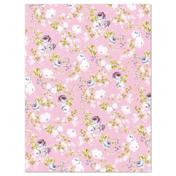 Decoupagepapier weiße Rosen auf rosa von Décopatch, 30x40cm, 20g/m²