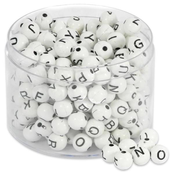 Buchstaben-Perlen rund 7mm 60g weiß-schwarz Kunststoff, Lochgröße ca. 2mm