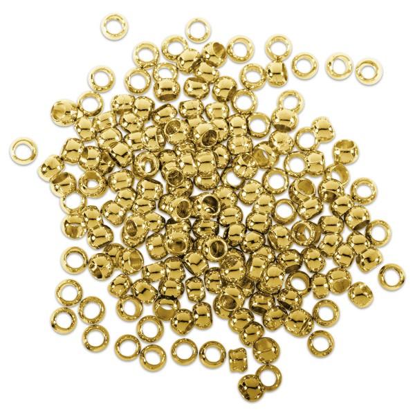 Quetschperlen Metall 3mm 3,3g ca. 50 St. goldfarben