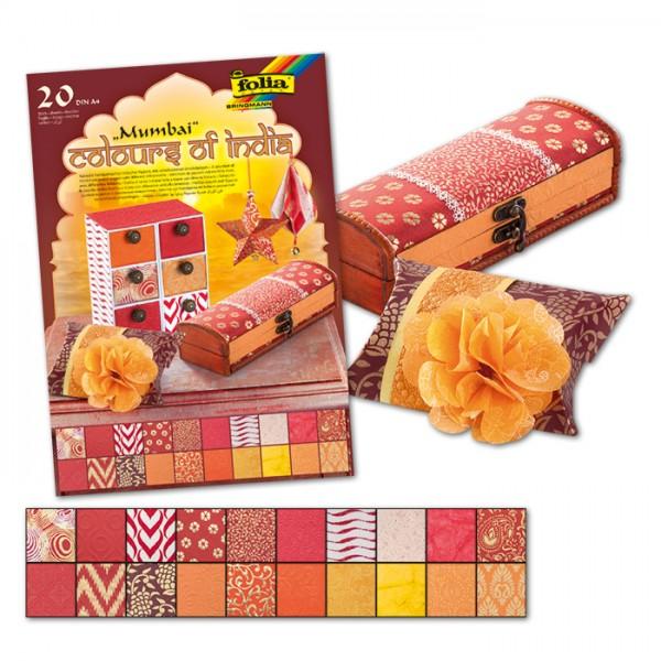 Colours of India DIN A4 20 Bl. Mumbai rot/orange handgemachtes Papier